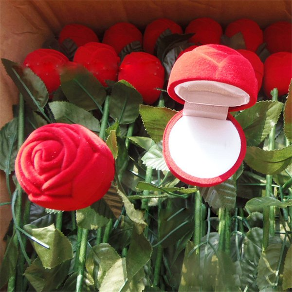 Valentine's Day Red Rose Flower Ring Box Creative Proposal Engagement Wedding Ring Boxes Romatic Jewel Case Jewellery Boxes NEW
