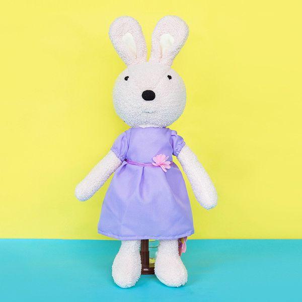 lesucre Accompany Sleep Retro Purple Dress Rabbit Plush Stuffed Animal Kids Toys for Girls Children Birthday Christmas Gift Doll