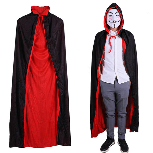 Devils Red Black Robe Cloak Cape Halloween Clothes Death Cape Kids Adult Men Women Hooded Gown Robe Costume Accessories Cosplay