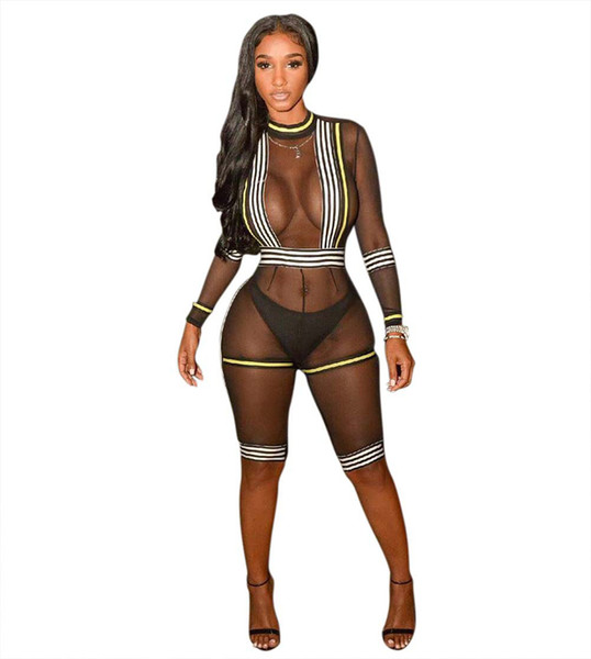 Free shipping black striped body suit bodysuit new fashion design sheer mesh knee length bodycon women sexy bodysuit sheer jumpsuit