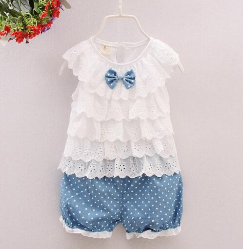 2018 hot sell Summer Baby Girl 2pcs Suits T-shirt+Shorts Clothing Cotton Sets Top T-shirt And Dot Denim Shorts Outfits Kids Clothing Suits