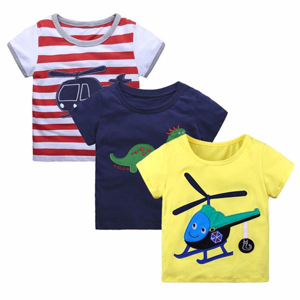 YUANMO 2018 Summer Children's Short Sleeve Three-Pack Boys and Girls Fashion Cotton Comfort Print T-Shirt Pullover