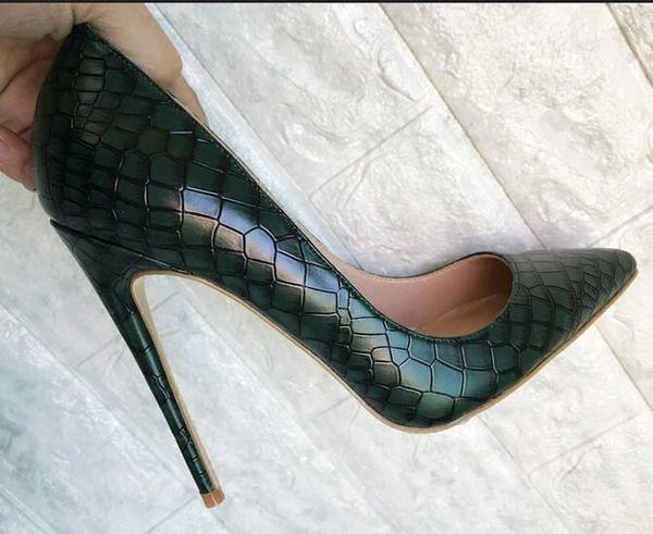 2018 nuevo estilo verde oscuro zapatos de tacón alto femenino fondo rojo piedra señaló los dedos del pie 12 cm 10 cm 8 cm bombas de tacón alto, zapatos de vestir de las mujeres