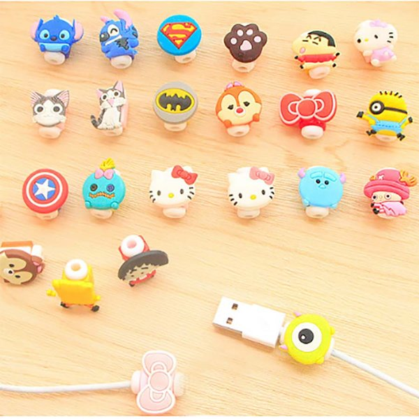 fashion cartoon toyl design mobile phone charging cord protector usb cable mini head holder shockproof cable for phone cables