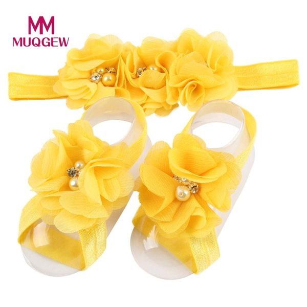 1Pair baby beach sandals summer shoes Infant Pearl Chiffon Barefoot Toddler Foot Flower Beach Sandals drop shipping