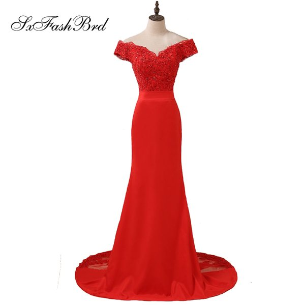 Girls Dress Elegant Sexy V Neck With Appliques Short Sleeves Red Mermaid Long Party Formal Evening Dresses Gowns for Women Prom