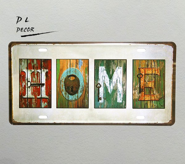 "DL- ""HOME"" Vintage shabby chic License plate home decoration accessories modern wall art"