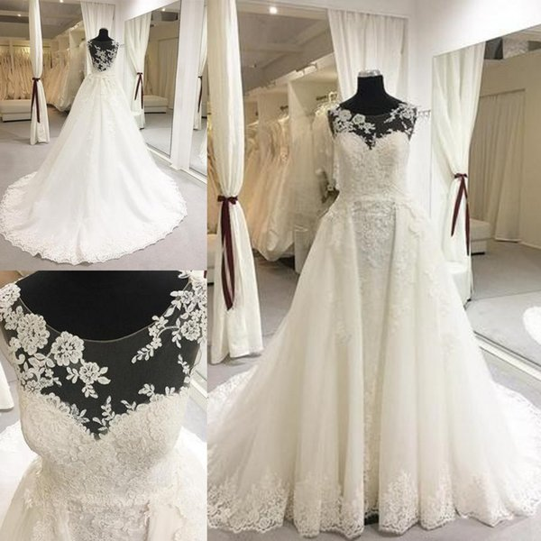 Fresh Illusion Bodice Wedding Dresses Elegant Sheer Lace Appliques Neckline Court Train Princess Backless Mopping Long Section WeddingGowns