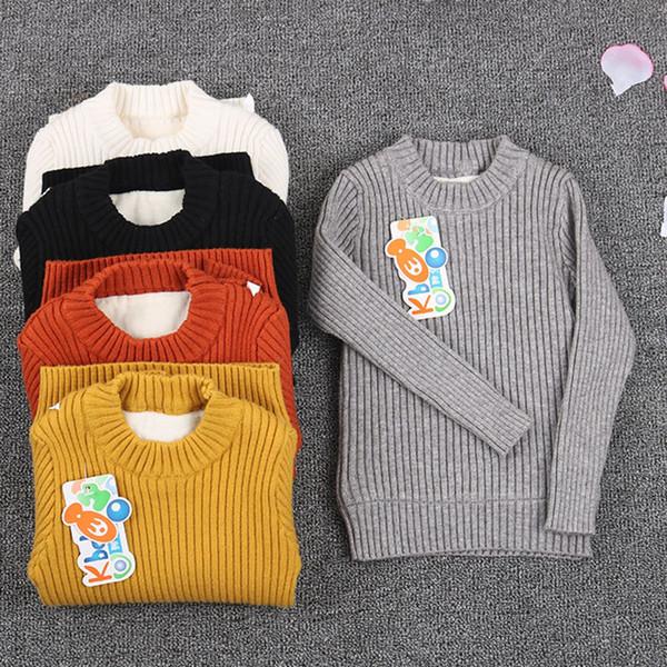 Piel de suéter acanalado niño dentro de 2018 niño recién nacido bebé prendas de punto tops puente negro de invierno y ropa blanca para niños niñas