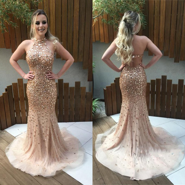New 2018 Luxury Rose Gold Crystal Bead Mermaid Prom Dress Sweep Train Sexy Open Back Celebrity Dresses Halter Neck Evening Gowns