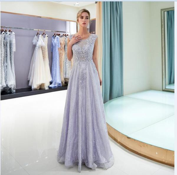 2018 violeta claro En Stock con cuentas de encaje Vestidos de novia cuello joya Elegantes vestidos de novia de la boda única borla vestido de fiesta de bodas 72701