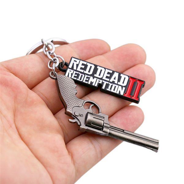 3D Metall Legierung Schlüsselanhänger Spiel Red Dead Redemption 2 Buchstaben Schlüsselanhänger Fans Favor Geschenk Guns Schlüsselanhänger Ornament Dekorationen Telefon Taschen