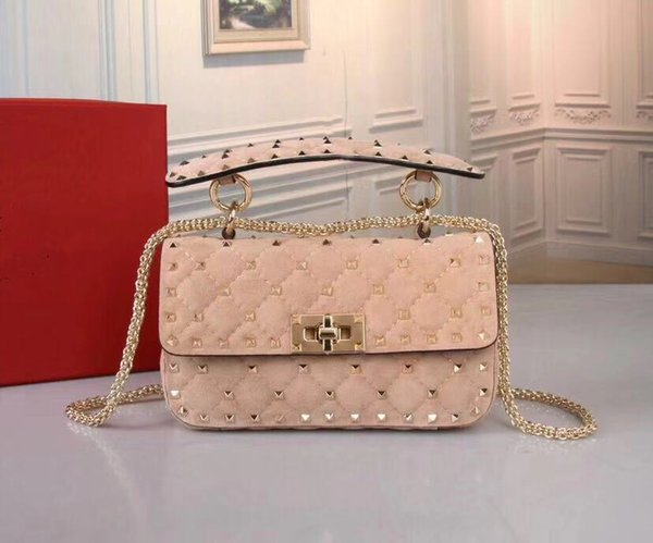 2018 new suede leather shoulder bag long chain rivets bag soft camera bag shoulder straps red nude wine colors small love key