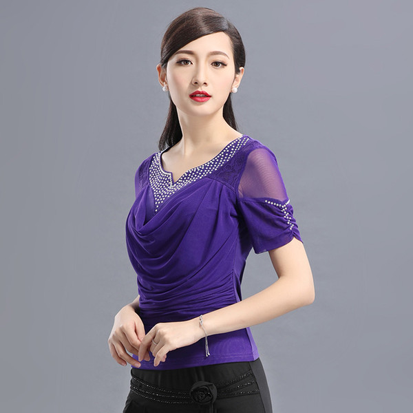 Latin Dance Shirt Ladies Diamond Dancing Top Short Sleeve Print Ice Silk Dancing Tops Ballroom Square Suit B-6531