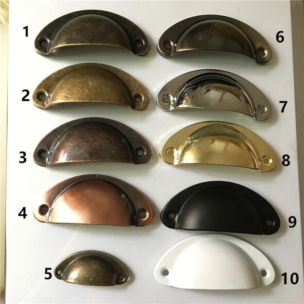 Retro Metall Küche Schubladenschrank Türgriff Möbelknöpfe Hardware Schrank Antik Messing Shell Stoßgriffe, 2 Stücke Möbelzubehör