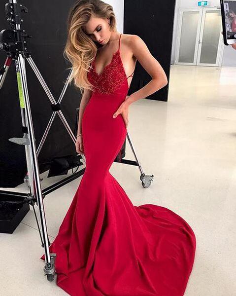 Sexy Red V-Neck Sleeveless Mermaid 2018 Prom Dress Appliques Beaded Criss Cross Straps Back Long Prom Evening Dresses vestidos de fiesta