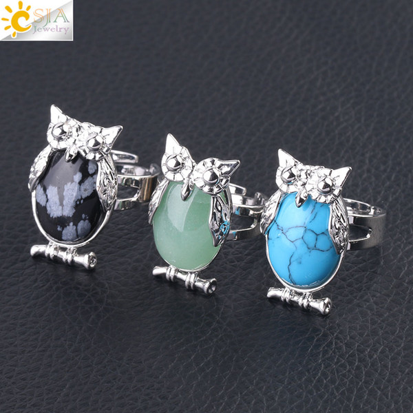 CSJA 20 Colors Owl Women Finger Ring Natural Stone Cabochon Bead Adjustable Rings Silver Bird Animal Charm Party Gemstone Jewelry F566