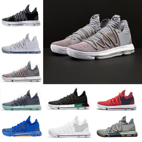 2018 Zoom KD 10 Multi-Color Oreo Numbers BHM Igloo Men Basketball Shoes 10s X Elite Mid Kevin Durant Sneakers Trainers Zapatos Chaussures