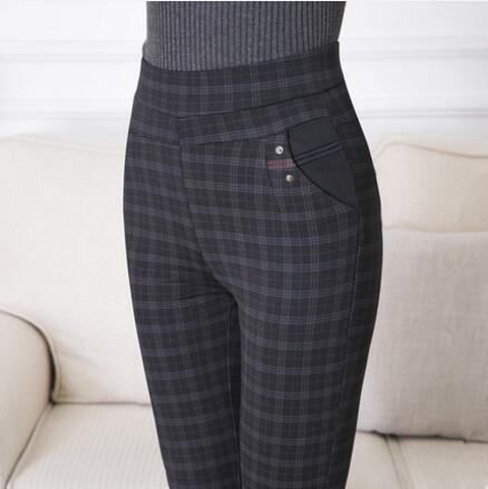 97f6e608102 2019 2018 Women Plaid High Waist Pants Full Length Cotton Spring ...