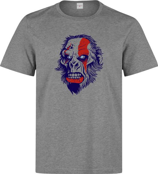 Kızgın Gorilla Kratos Makyaj Spor Eğlence Baskılı Pamuk erkek T-Shirt Üst Tee kısa Kollu T-Shirt Tops Yuvarlak Boyun Tees komik hediye Kısa