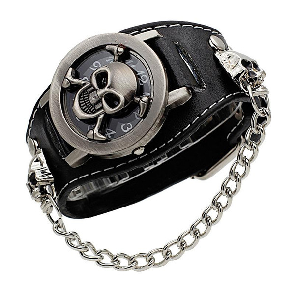 cover stereoscopic hollow black punk rock chain skull skeleton watches men women bracelet cuff gothic wrist watch fashion leather wristwatch, Slivery;brown