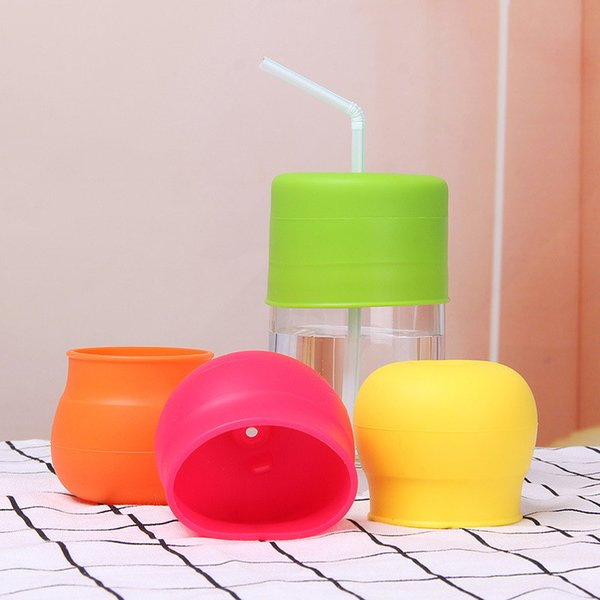 Silicone Nontoxic Bottle Cap Spill Proof Leak Proof Water Drink Beverages Glass Sucker Straw Cup Cover for Toddlers Babies