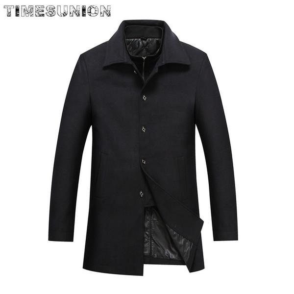 Long Jacket Men Autumn & Winter Single Breasted Woolen Coats 30% Off Mens Wool Jackets Two-piece Set Wool & Blends Overcoat