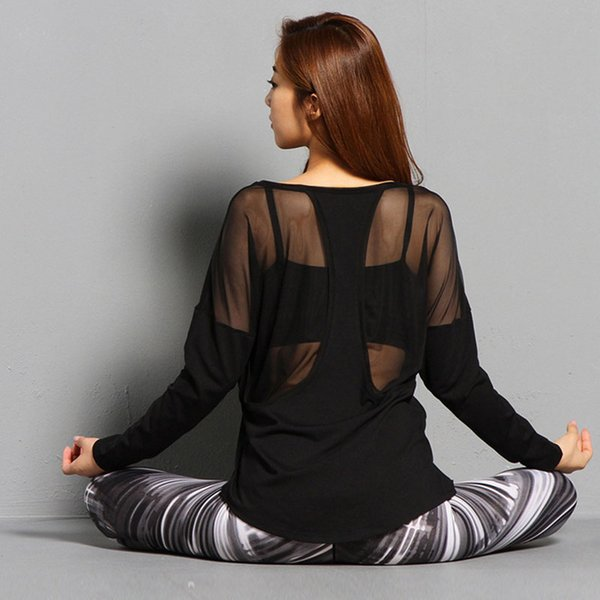 Women Back Mesh Hollow Yoga Top Full Sleeve Sport T Shirt Modal Quick Dry Fitness Clothing Sports Gym Running Jogging Shirts