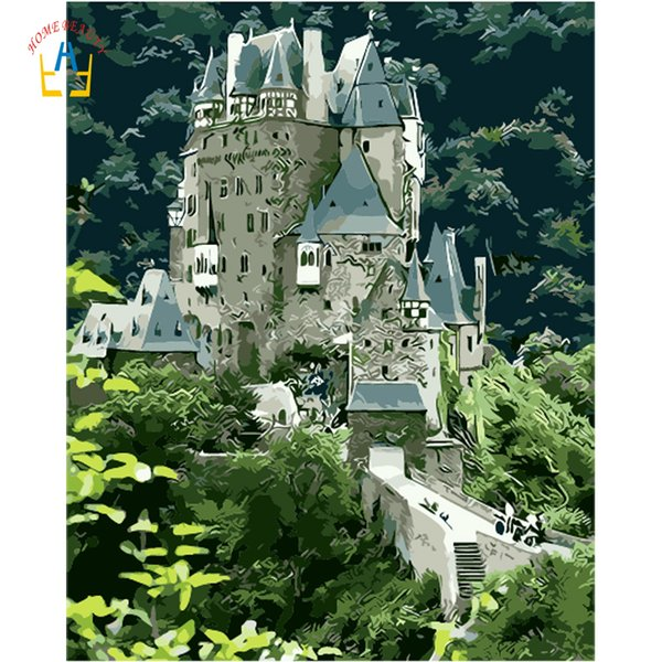 Diy acrylic paints coloring by numbers on canvas wall art nordic picture for living room castle on the mountain home decor YA093