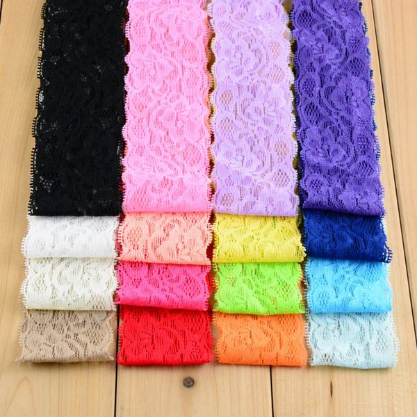 """New Arrivel 300pcs/lot 1.18"""" Wide Kids Elastic Lace Headband For Baby Girls 16Colors Head Bows DIY Hair Band Accessories"""