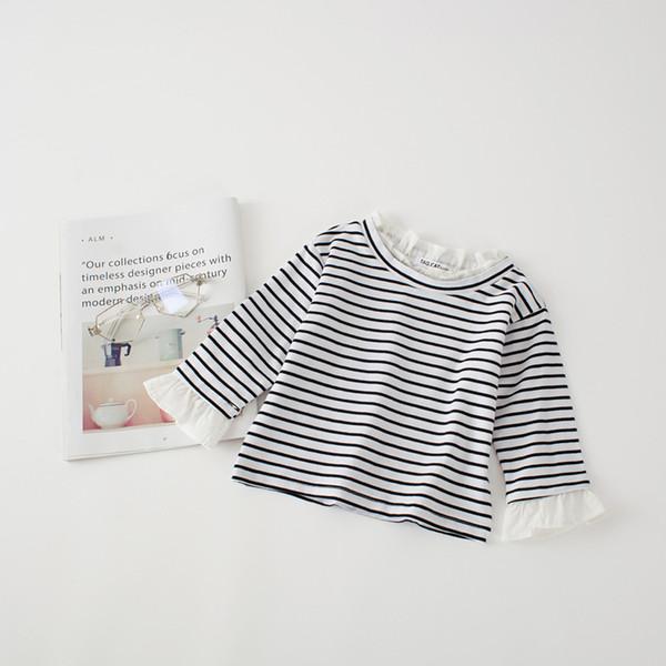girl kids clothing top shirt round collar long sleeve stripped girl t shirt spring fall 100% cotton girl top shirt