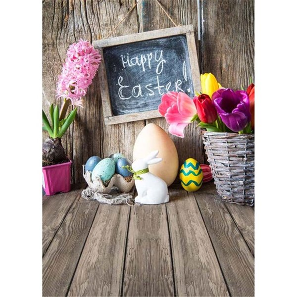Vintage Wooden Wall Floor Happy Easter Photography Backdrops Printed Basket Flowers Eggs Baby Kids Newborn Photo Shoot Background for Studio