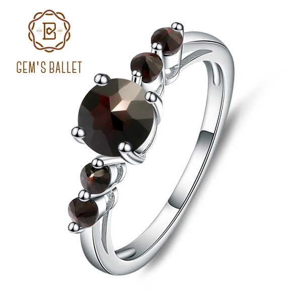 GEM'S BALLET Natural Black Garnet Gemstone Genuine 925 Sterling Silver Rings For Women Gift Charms Fashion Jewelry Vintage S18101002