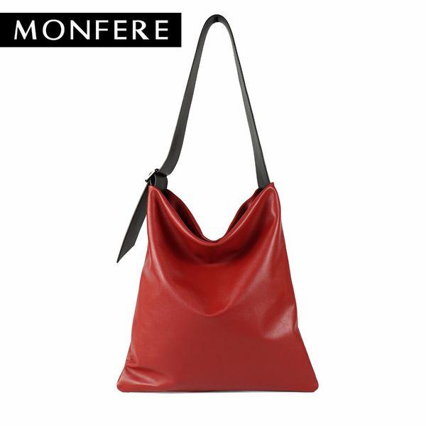 MONFERE real genuine leather bag casual hobo soft skin cowhide shoulder bags leisure large luxury handbags women bags designer