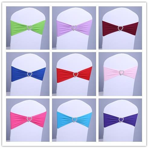 100pcs Elastic Spandex Chair Bow Sash for Wedding/Banquet Stretch Lycra Chair Sash Band With Circle/Heart Buckle Free Shipping