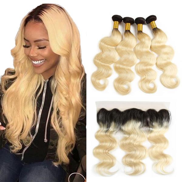 Body Wave 1B / 613 Ombre Blondes Haar Lace Frontal Brasilianische Körperwelle Haar Bundles mit Frontal Ombre Body Wave Menschenhaarverlängerung