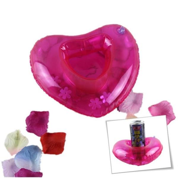 Jouet gonflable rouge de forme de coeur d'amour de tasse de tasse de tasse de boisson de flotteur de bouteille de soucoupe pour la décoration de partie de plage AAA376