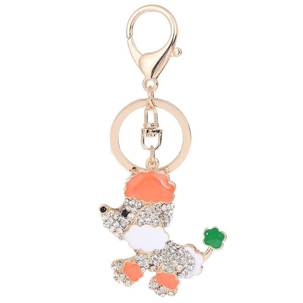 Lovely Poodle Keychain Crystal Metal Keychain Rose Gold Plated Keyring Car Keychains Purse Charms Handbag Pendant for Women Men Kids