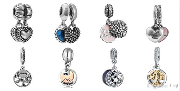 Wholesale Mixed Loose Silver Beads Charm EnamelAnna Belle Cinderella Pendant Beads Fit Women Pandora Bracelet Bangle Diy Jewelry KKA1170
