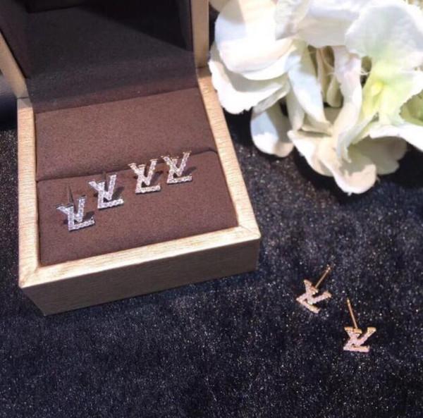 Fashion simple ladies earrings full of diamonds English alphabet ear clip pendant earrings jewelry