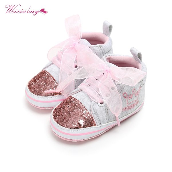 WEIXINBUY Baby First Walkers Cotton Laced Cute Embroidered Flower Soft Toddler Shoes high quality