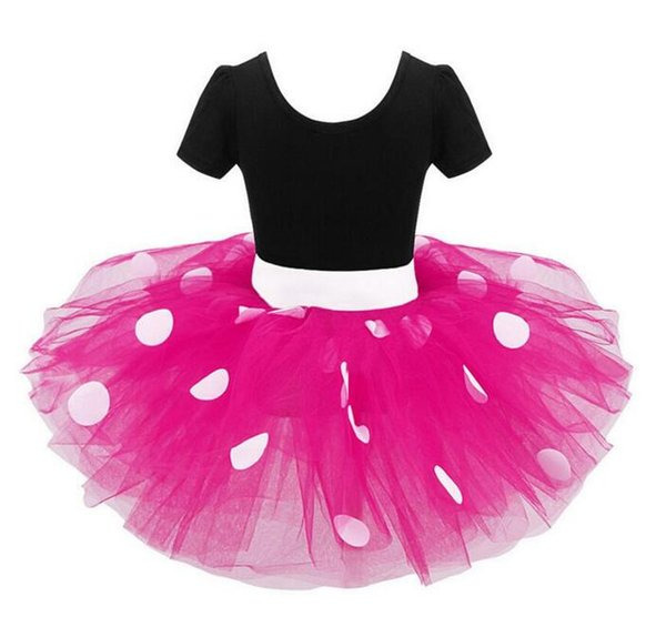 2018 Baby Ballet Dress Kids Clothing Polka Dot Bow Headband 2pc Set Clothes Kids Princess Party Costume Clothing Tutu Dress Suit