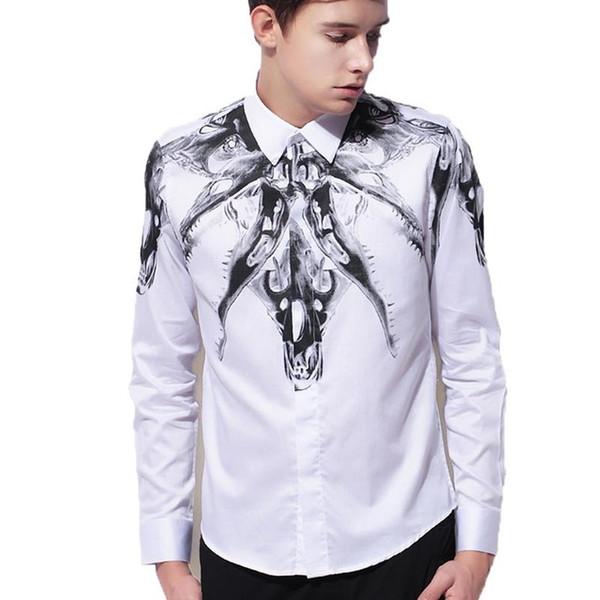 2018 New Arrival Men's 100% Cotton Shirt Hight Quality Bovine Bone Printed Fashion Slim Fit Men Leisure Shirt M L XL 2XL 3XL