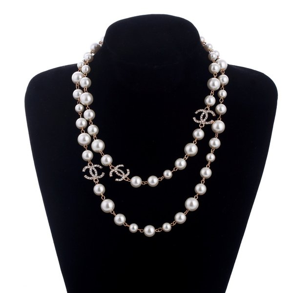 COOL long Korean Long Sweater Chain Colar Maxi Necklace Simulated Pearl Flowers Necklace Women Fashion Jewelry bijoux femme