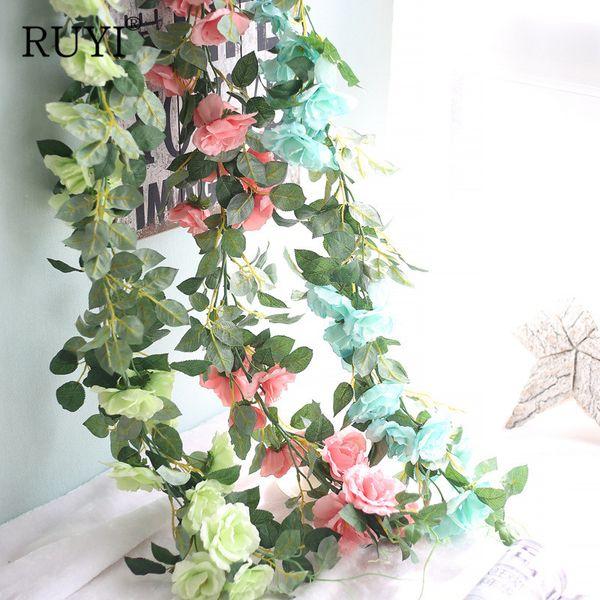 Wholesale-Long Rattan Wedding Decoration DIY Artificial Fake Silk Rose Flower Vine Leaves Hanging Garland Home Decor Indoor Plant Wall