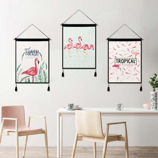 Baumwolle Leinen Wandbehang Malerei Gobelin Wand Raumdekoration Baumwolle Leinen Material 45 cm * 65 cm Ziffer Druck Flamingo roter Vogel gesetzt