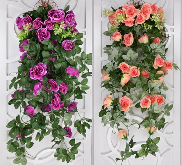 Artificial flowers For Wedding 2018 Ivy Vine Fake Silk Roses Home Wedding Decoration Hanging Garland Decor