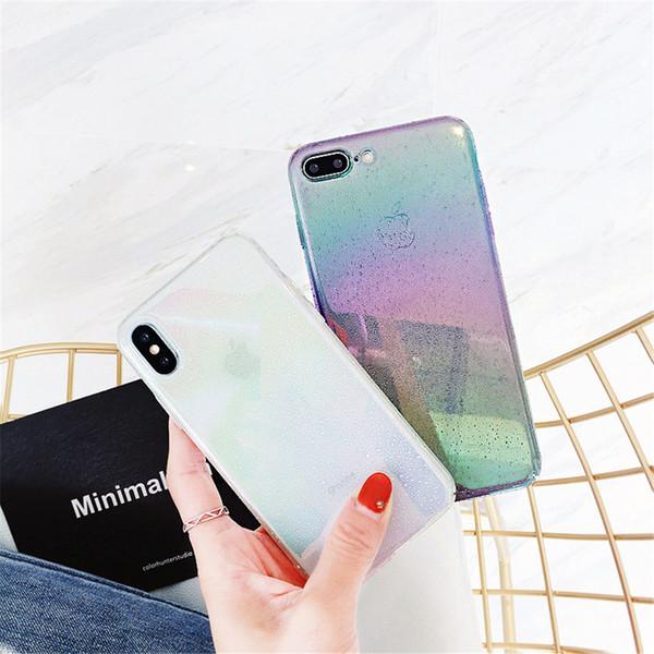 Caja del teléfono YunRT para iPhone X 8 7 6 6 s más divertido Water Drop Cover Colorful Gradient Rainbow Cases para iPhone X Coque Capa