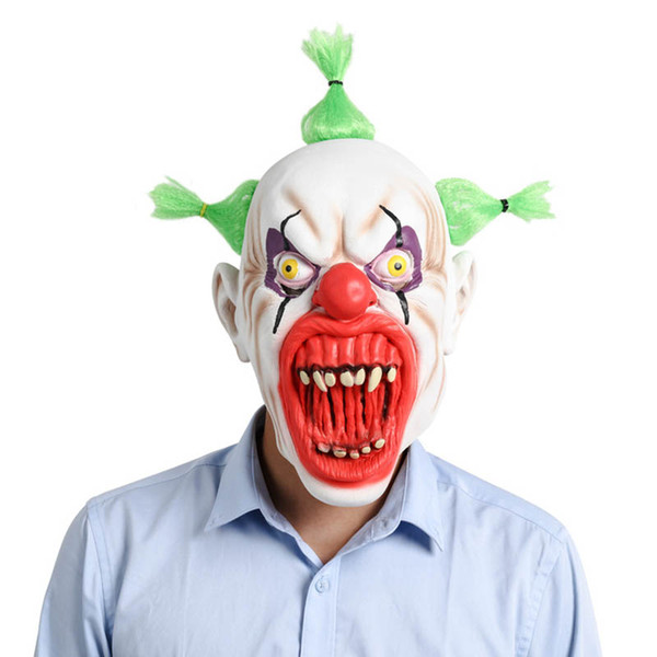 Halloween Mask Scary Clown Latex Full Face Masks Big Mouth Red Nose Hair Cosplay Horror Masquerade Adult Ghost Party For Props