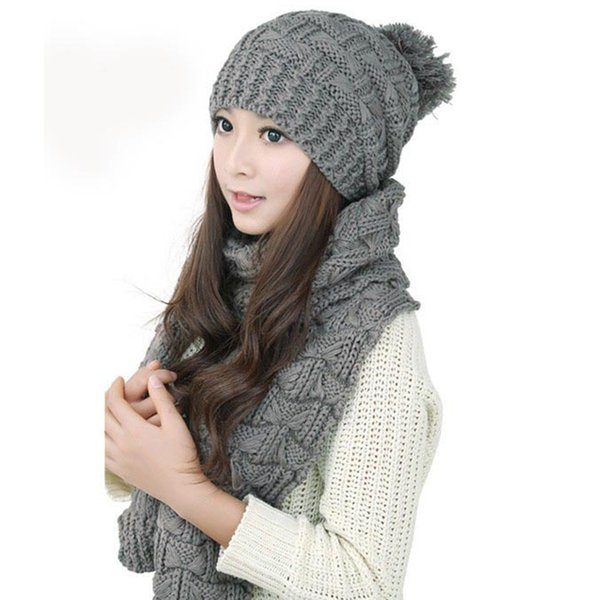 0fda05bf359baf New Winter Womens Hat Scarf Set Ladies Wooly Thick Knit Hat And Scarf Set  knitted Glove